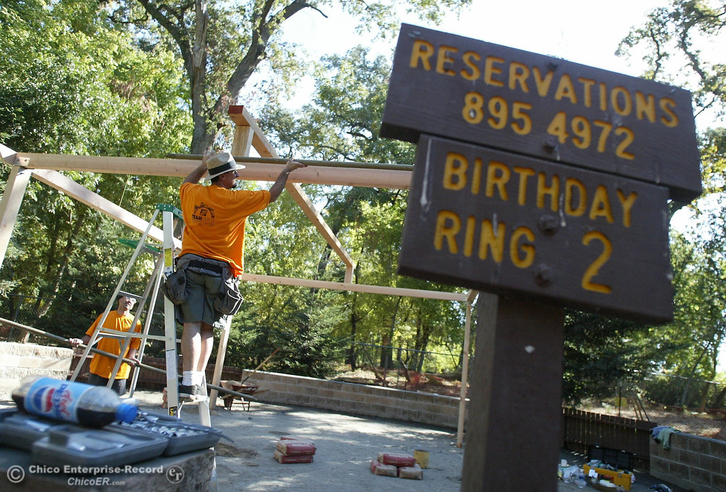 . Steve Badiali, Assistant Store Manager for Home Depot, begins putting up the framework for Birthday Ring 2 at Caper Acres in this file photo from October 2004. (Bill Husa/Chico Enterprise-Record file photo)