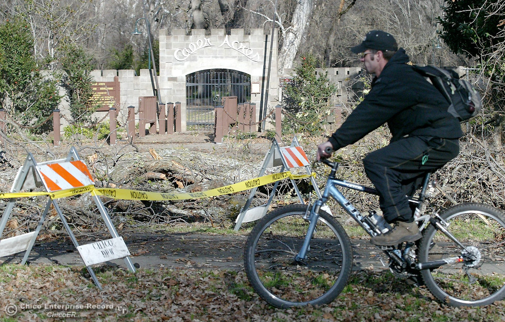 . A bicyclist rides past the section of fallen limbs near the entrance to Caper Acres in this file photo from January 2008. (Bill Husa/Chico Enterprise-Record)