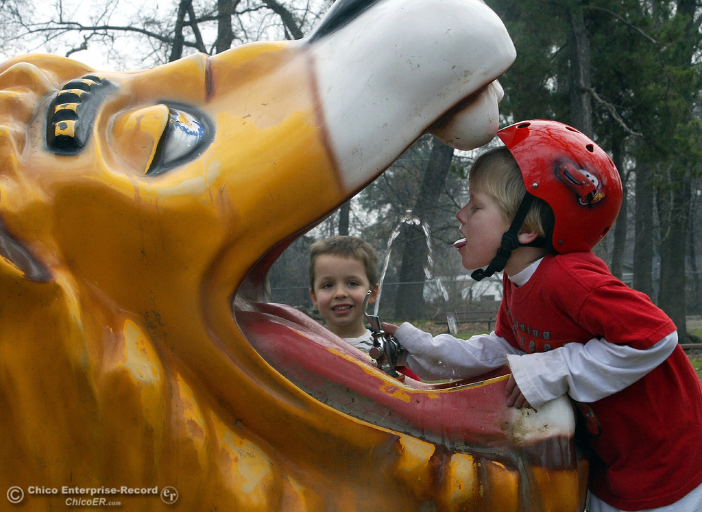 . Alexander Depa, 6, stopped for a drink out of the lion\'s head drinking fountain while his playmate, Joe Shepard, 4, waited his for turn at Caper Acres in this file photo from January 2007. (Ty Barbour/Chico Enteprise-Record file photo)