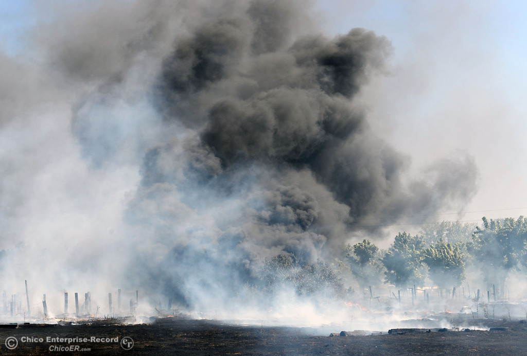 Description of . Dark smoke from a tire pile burns as Oroville Fire, El Medio Fire, and Cal Fire - Butte County battle a fire along Power House Hill Rd and Dad Lane that burned several structures and debris piles Thursday, September 26, 2013, in Oroville, Calif.  (Jason Halley/Chico Enterprise-Record)