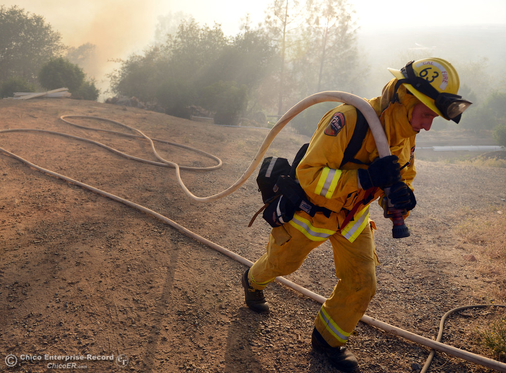 Description of . Cal Fire engineer Troy Hand moves a hose line as the protect a structure along Chinese Wall Rd. as the Swedes Fire burned along Swedes Flat Road, in the vicinity of Chinese Wall Road, just east or Oro Bangor Highway Friday, August 16, 2013 in Oroville, Calif. Over 200 acres were burned with at least one structure lost. (Jason Halley/Chico Enterprise-Record)