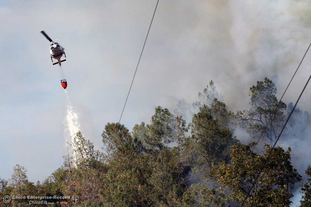 Description of . A Cal Fire helicopter goes in to make a water drop on the Swedes Fire that burned along Swedes Flat Road, in the vicinity of Chinese Wall Road, just east or Oro Bangor Highway Friday, August 16, 2013 in Oroville, Calif. Over 200 acres were burned with at least one structure lost. (Jason Halley/Chico Enterprise-Record)