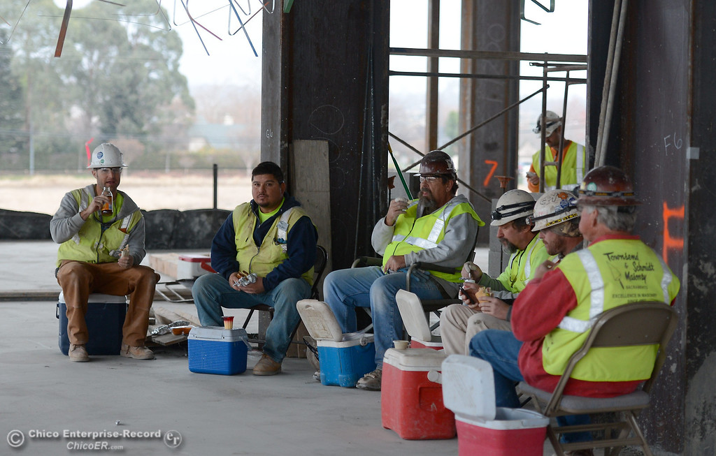 Description of . Workers take a break during construction of the new North Butte County Courthouse located off of Bruce Road at 1701 Concord Ave. in Chico, Calif. Wednesday Jan. 29, 2014.  (Bill Husa/Staff Photo)