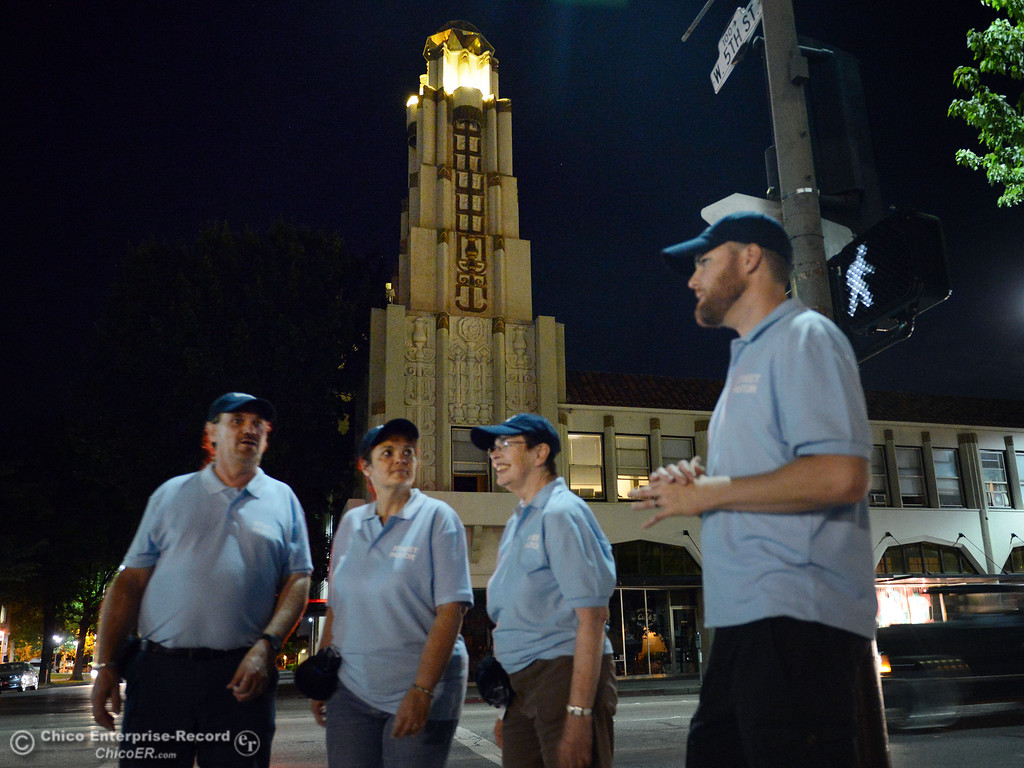 Description of . John Clark, Judy Clark, Nancy Calkins, and Jeremy Rhodes (left to right) walked around downtown Chico with others that were part of the Street Pastors program Friday, August 23, 2013 in Chico, Calif.  (Jason Halley/Chico Enterprise-Record)