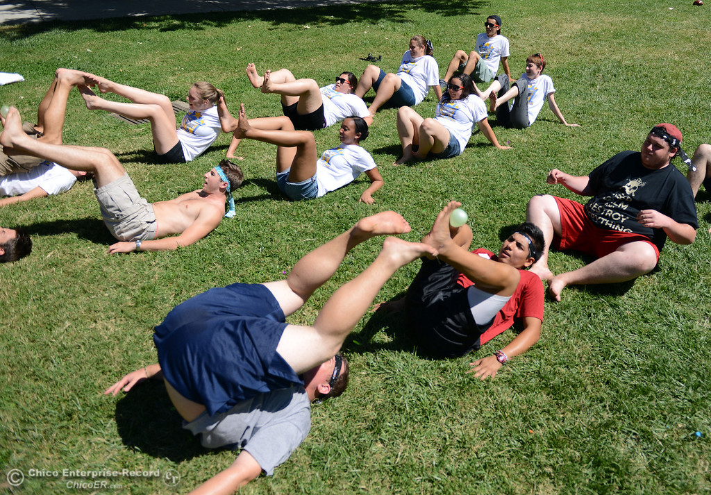 Description of . Chico State students play games as alternative activities to floating on the Sacramento River for Labor Day at the Wildcat Challenge event on the lawn between Lassen Hall and Sutter Hall on the Chico State Campus Saturday, August 31, 2013 in Chico, Calif.  (Jason Halley/Chico Enterprise-Record)