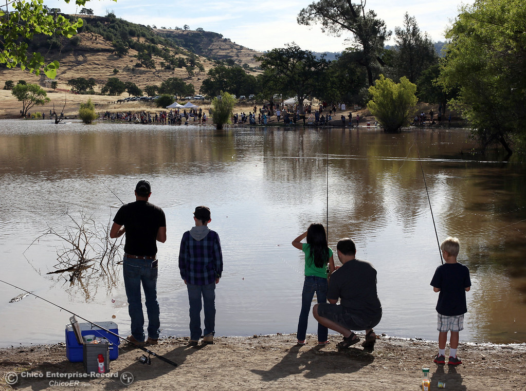 Description of . Hundreds of kids cast their lines in for Hooked on Fishing at Horseshoe Lake in upper Bidwell Park on June 1, 2013 in Chico, Calif. (Jason Halley/Chico Enterprise-Record)