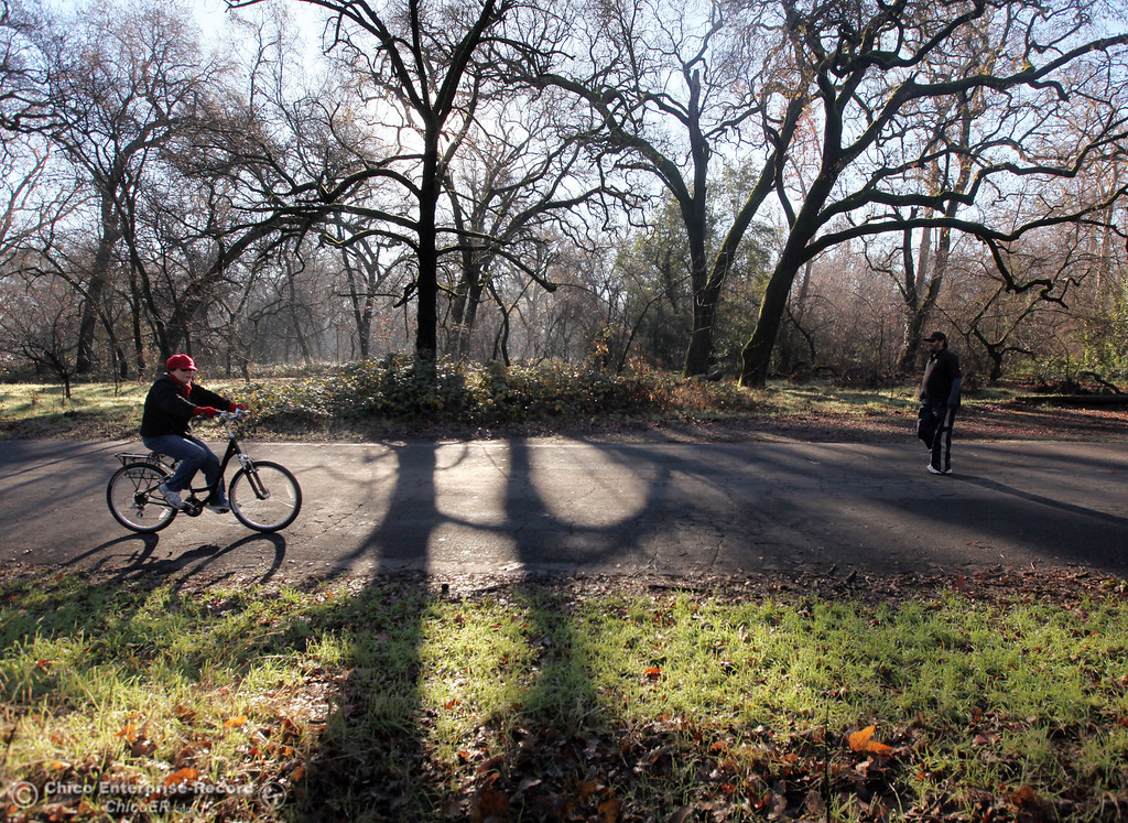 Description of . People ride bikes and walk through lower Bidwell Park on December 27, 2012 in Chico, Calif. (Jason Halley/Enterprise-Record)