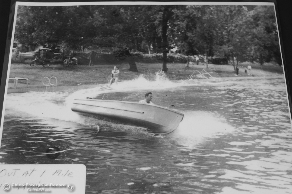 Description of . A historic photo of a water skier in Sycamore Pool at One Mile- Recreation area in lower Bidwell Park circa 1955 was on display at the North Valley Fire, health & Safety Expo on October 10, 2012. (Bill Husa/Chico Enterprise-Record)