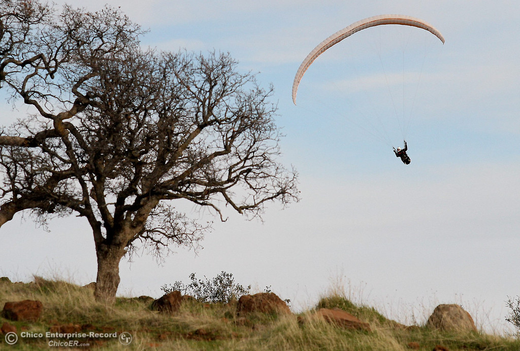 Description of . Jon Stallman, of Chico, soars his paraglider near Monkey Face in upper Bidwell Park on December 19, 2012. (Bill Husa/Chico Enterprise-Record)