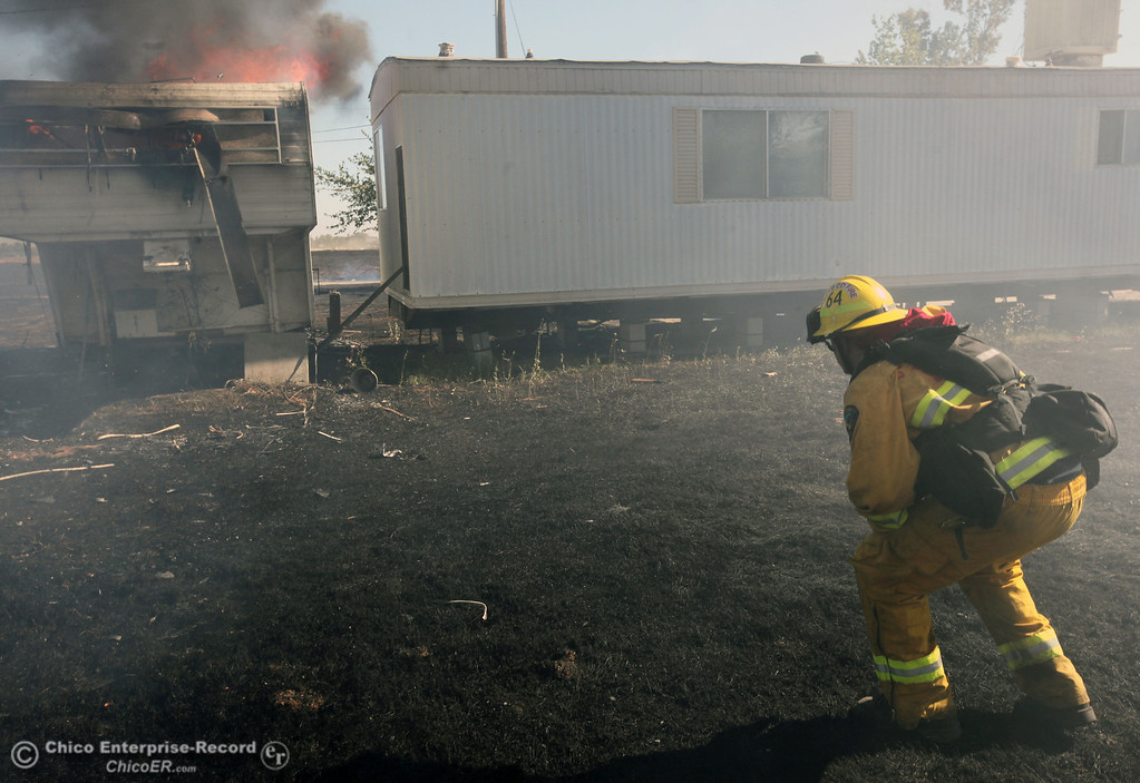 Description of . Cal Fire - Butte County firefighter Ben Holliday checks on a trailer on fire as they to battle a fire off Vineyard Lane Friday, July 12, 2013 in Oroville, Calif.  (Jason Halley/Chico Enterprise-Record)