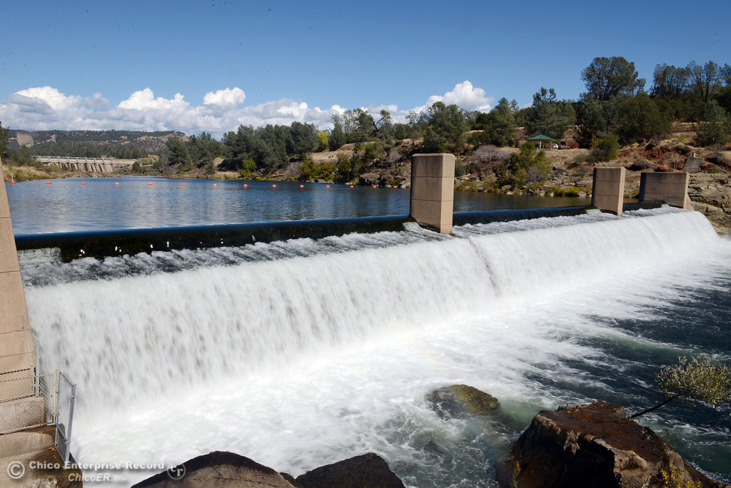 . Water flows over the Feather River Diversion Dam as salmon were jumping up the fish ladder at the Feather River Fish Hatchery Wednesday, September 25, 2013, in Oroville, Calif. This weekend, The Salmon Festival comes to Oroville.  (Jason Halley/Chico Enterprise-Record)