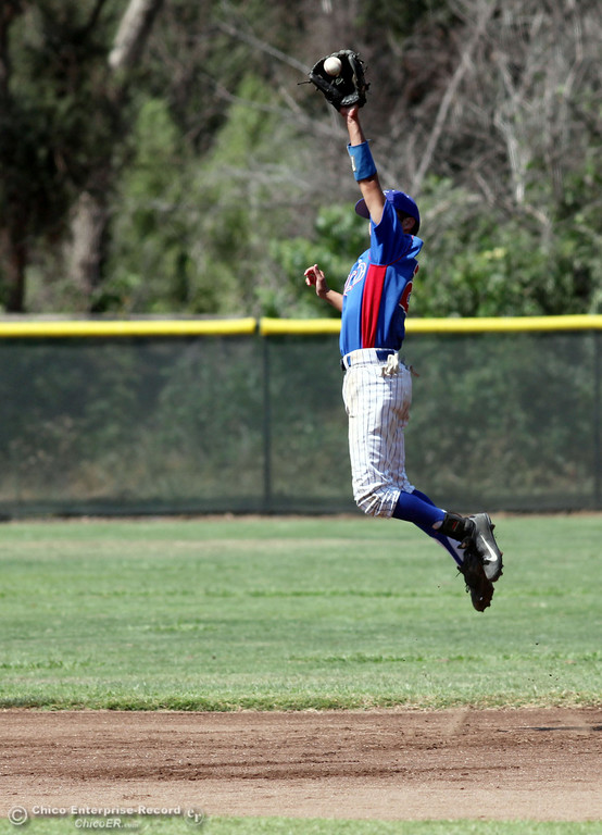 . Chico Nuts\' #2 Reggie Points leaps to catch a line drive against Yolo Post 77\' #4 Joseph Murray (not seen) in the top of the first inning during their American Legion baseball game at Doryland field Saturday, July 20, 2013 in Chico, Calif.  (Jason Halley/Chico Enterprise-Record)