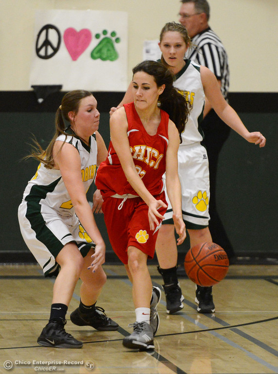 . Chico High\'s #22 Cia Seibert (center) dribbles against Paradise High\'s #24 Kelsea Kennedy (left) and #15 Bailey Bengson (right) in the second quarter of their girls basketball game at PHS Tuesday, February 18, 2014 in Paradise, Calif.  (Jason Halley/Chico Enterprise-Record)