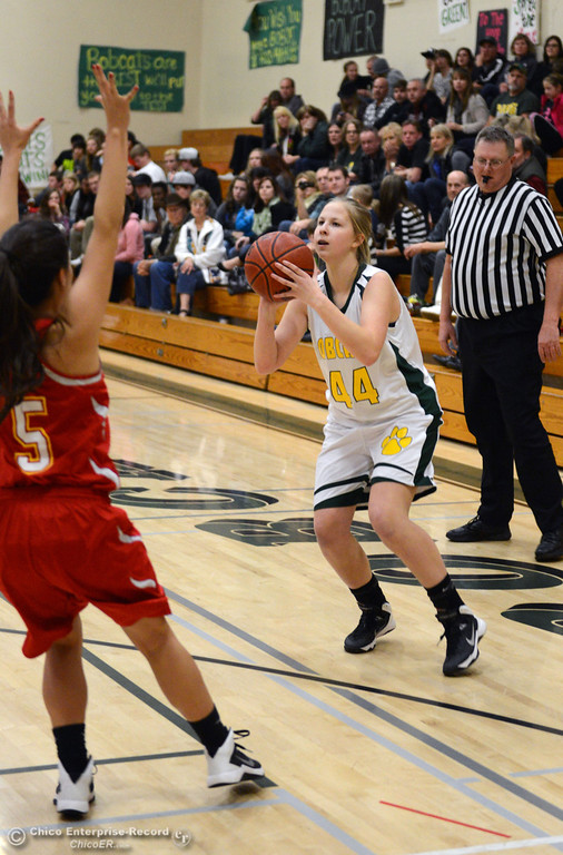 . Paradise High\'s #44 Emilee Heinke takes a shot against Chico High in the second quarter of their girls basketball game at PHS Tuesday, February 18, 2014 in Paradise, Calif.  (Jason Halley/Chico Enterprise-Record)