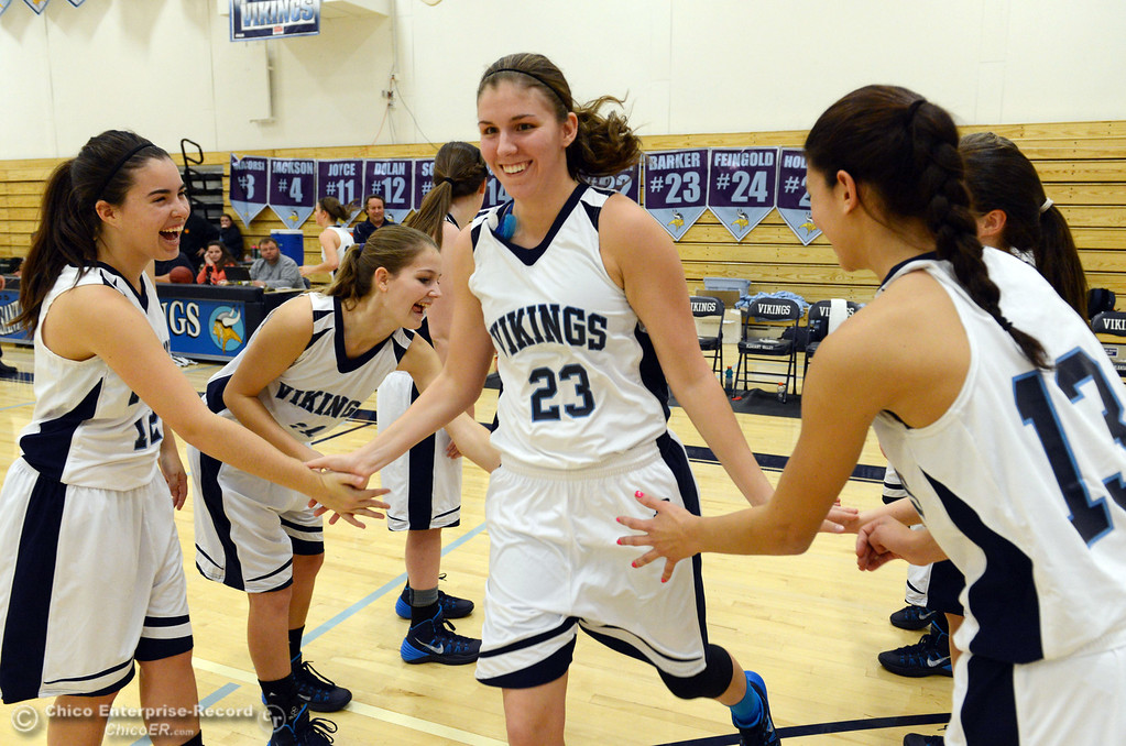 Description of . Pleasant Valley High's #23 McKena Barker (center) is introduced against Colfax High in the first quarter of their girls basketball game at PV's Varley Gym Saturday, December 7, 2013 in Chico, Calif. (Jason Halley/Chico Enterprise-Record)