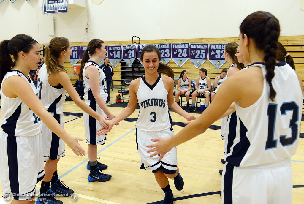 Description of . Pleasant Valley High's #3 Izzy Bonacorsi (center) is introduced against Colfax High in the first quarter of their girls basketball game at PV's Varley Gym Saturday, December 7, 2013 in Chico, Calif. (Jason Halley/Chico Enterprise-Record)