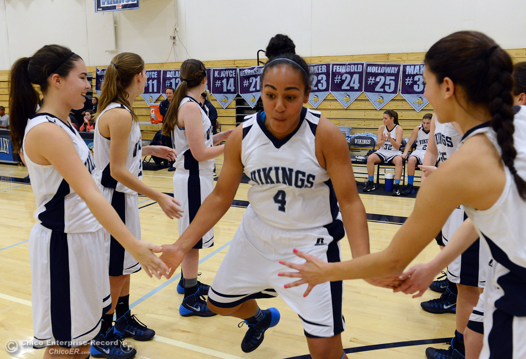 Description of . Pleasant Valley High's #4 Dominique Jackson (center) is introduced against Colfax High in the first quarter of their girls basketball game at PV's Varley Gym Saturday, December 7, 2013 in Chico, Calif. (Jason Halley/Chico Enterprise-Record)