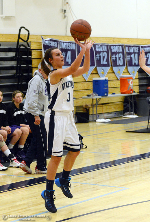 Description of . Pleasant Valley High's #3 Izzy Bonacorsi takes a 3pt shot against Petaluma High in the first quarter of their girls basketball game at PVHS Varley Gym Friday, December 6, 2013 in Chico, Calif. (Jason Halley/Chico Enterprise-Record)