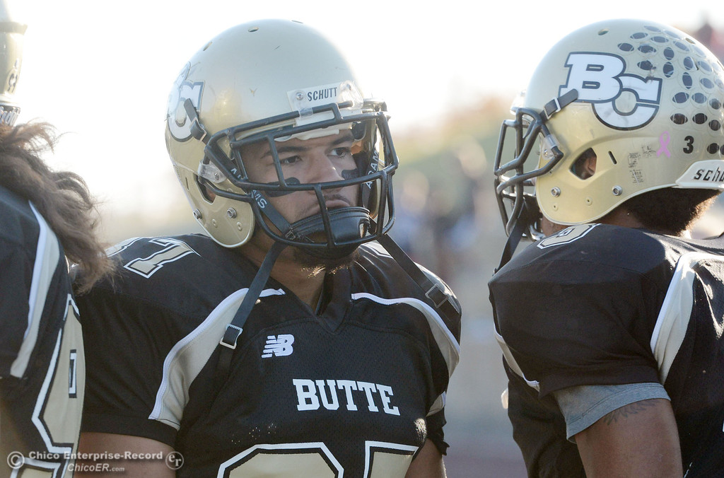 . Butte College\'s #37 Demetre Lopez looks on against City College of San Francisco in the fourth quarter of their football game at Butte\'s Cowan Stadium Saturday, November 16, 2013 in Butte Valley, Calif.  (Jason Halley/Chico Enterprise-Record)