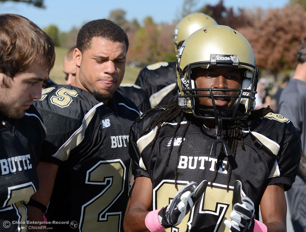 Description of . Butte College\'s #87 Timazray Shepherd readies against De Anza College in the first quarter of their football game at Butte\'s Cowan Stadium Saturday, October 26, 2013 in Oroville, Calif.  (Jason Halley/Chico Enterprise-Record)