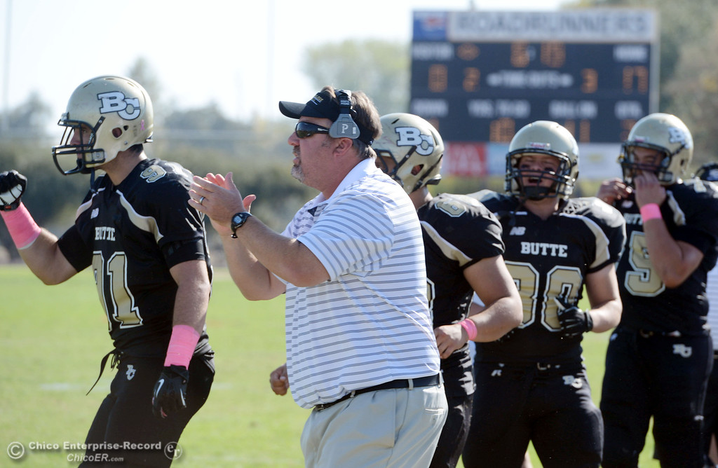 Description of . Butte College coach Jeff Jordan reacts to De Anza College missing a field goal attempt in the second quarter of their football game at Butte\'s Cowan Stadium Saturday, October 26, 2013 in Oroville, Calif.  (Jason Halley/Chico Enterprise-Record)