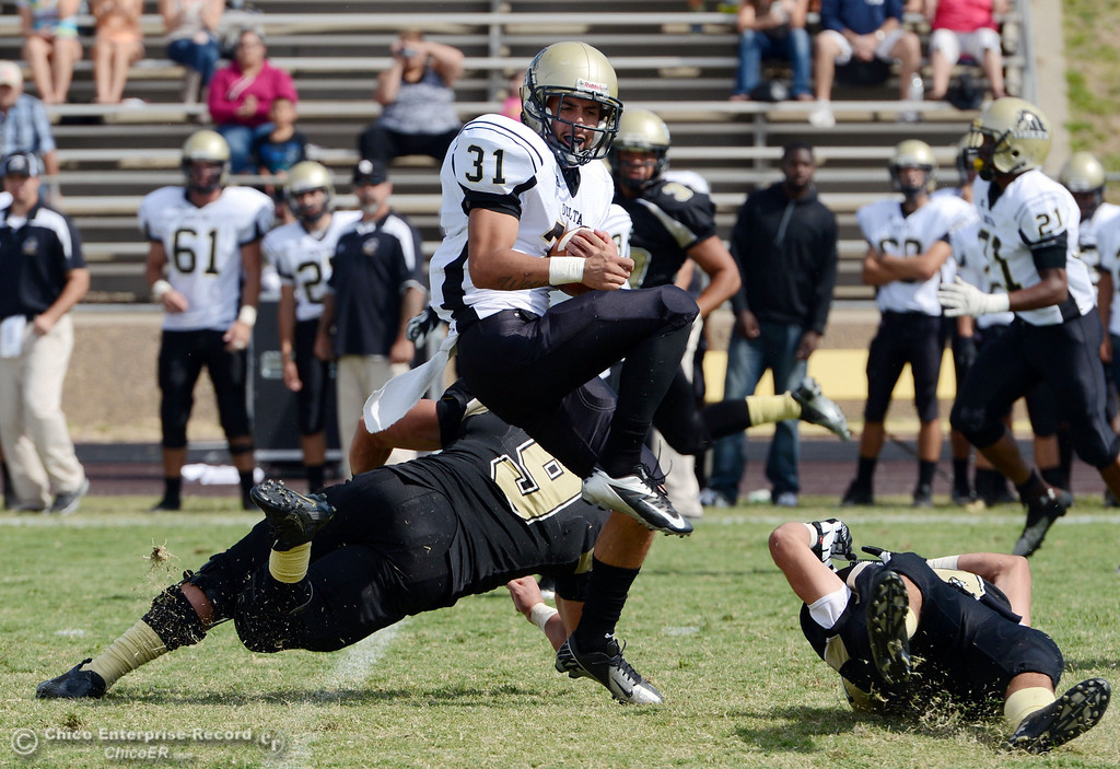 Description of . Delta College's #31 Brian Wood (center) breaks tackles by Butte College in the second quarter of their football game at Butte's Cowan Stadium Saturday, September 28, 2013, in Oroville, Calif.  (Jason Halley/Chico Enterprise-Record)
