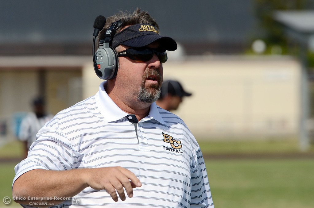 Description of . Butte College\'s coach Jeff Jordan looks on against Delta College in the second quarter of their football game at Butte\'s Cowan Stadium Saturday, September 28, 2013, in Oroville, Calif.  (Jason Halley/Chico Enterprise-Record)