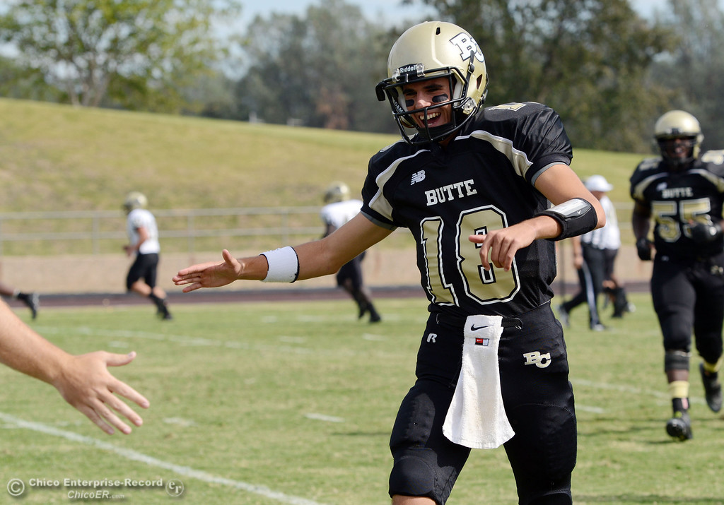Description of . Butte College\'s #18 Eric Ascensio comes in against Delta College in the third quarter of their football game at Butte\'s Cowan Stadium Saturday, September 28, 2013, in Oroville, Calif.  (Jason Halley/Chico Enterprise-Record)