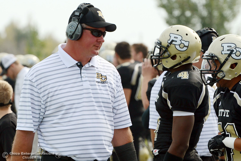 . Butte College coach Thomas Flesher looks on against Delta College in the fourth quarter of their football game at Butte\'s Cowan Stadium Saturday, September 28, 2013, in Oroville, Calif.  (Jason Halley/Chico Enterprise-Record)