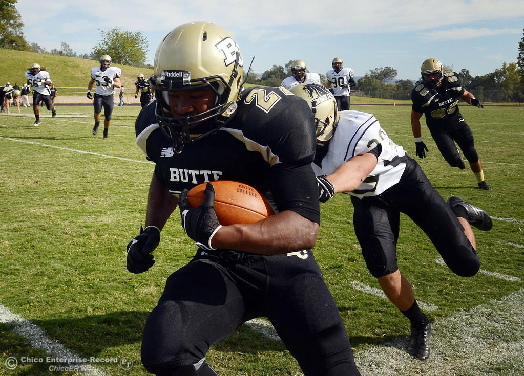 Description of . Butte College's #21 Marvel Harris (left) is pushed out of bounds against Delta College's #30 Andrew Truax (right) in the fourth quarter of their football game at Butte's Cowan Stadium Saturday, September 28, 2013, in Oroville, Calif.  (Jason Halley/Chico Enterprise-Record)