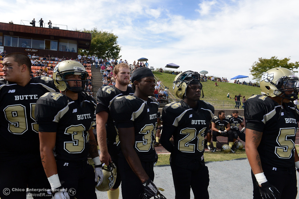 Description of . Butte College against Delta College in the second quarter of their football game at Butte\'s Cowan Stadium Saturday, September 28, 2013, in Oroville, Calif.  (Jason Halley/Chico Enterprise-Record)