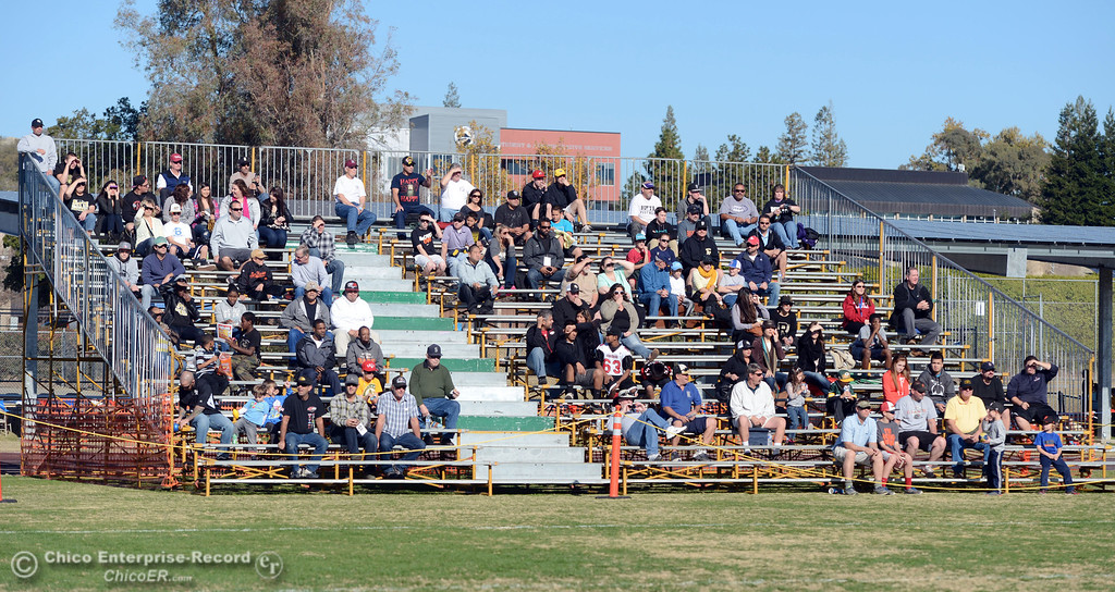 . Extra seating was provided for fans who watched Butte College against Fresno City College in the first quarter of their football game at Butte\'s Cowan Stadium Saturday, November 30, 2013 in Butte Valley, Calif.  (Jason Halley/Chico Enterprise-Record)