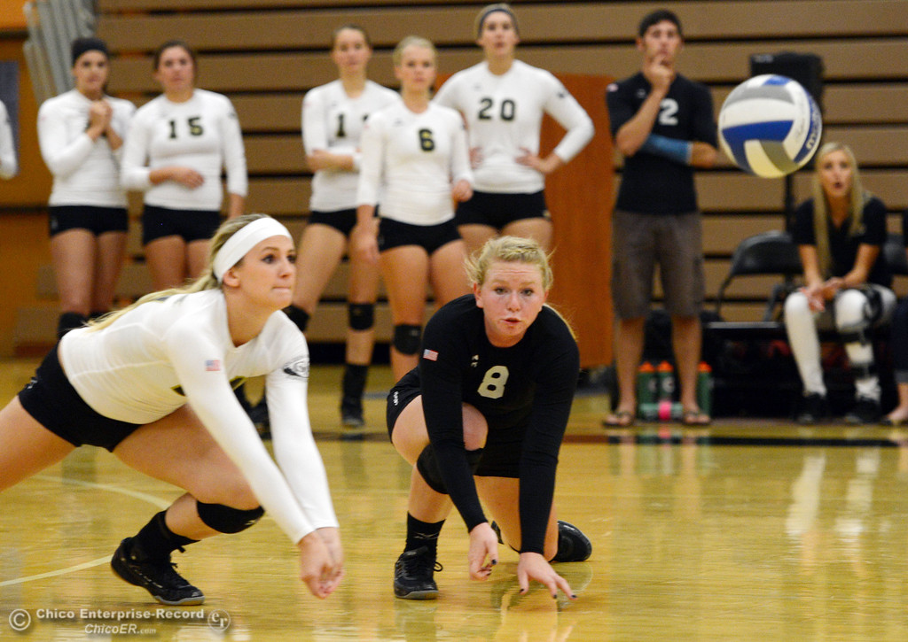 Description of . Butte College's #21 Drew Tattam (left) and #8 Mikaela Woodbury (right) dive in for a dig against Sac City College in the second game of their women's volleyball match at Butte's Cowan Gym Wednesday, September 25, 2013, in Oroville, Calif.  (Jason Halley/Chico Enterprise-Record)