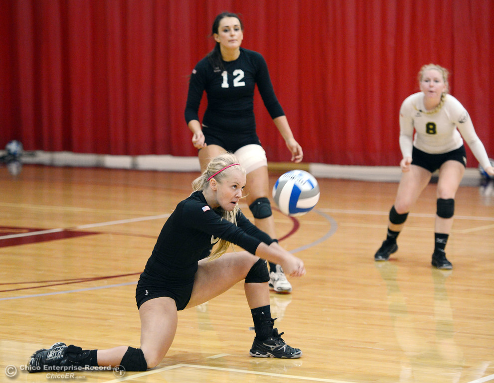 Description of . Butte College's #6 Lacie Landrum (bottom) get under the ball as #12 Callie Flood and #8 Mikaela Woodbury (back) look on against Chico State in their volleyball game at CSUC Acker Gym Saturday, August 24, 2013 in Chico, Calif.  (Jason Halley/Chico Enterprise-Record)