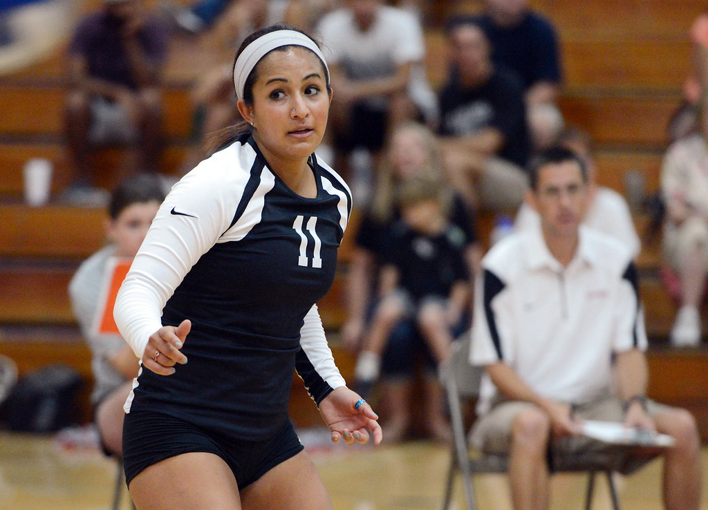 Description of . Butte College against Chico State in their volleyball game at CSUC Acker Gym Saturday, August 24, 2013 in Chico, Calif.  (Jason Halley/Chico Enterprise-Record)