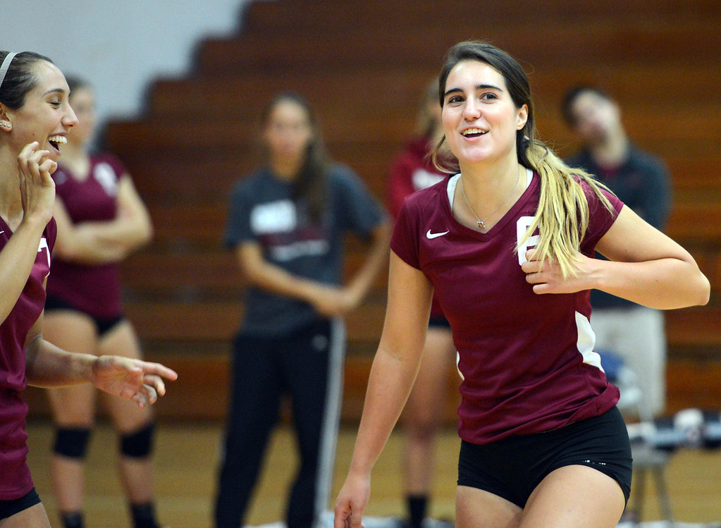 Description of . Butte College against Chico State's #6 Molly Ratto in their volleyball game at CSUC Acker Gym Saturday, August 24, 2013 in Chico, Calif.  (Jason Halley/Chico Enterprise-Record)