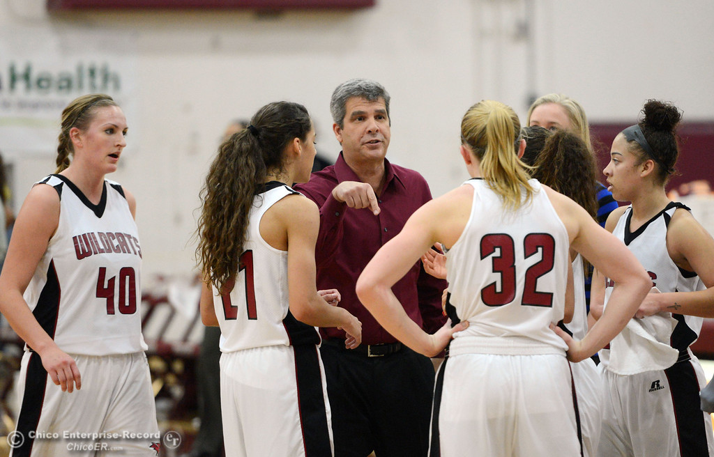 Description of . Chico State head coach Brian Fogel (center) talks to the team during a timeout against Cal State Dominguez Hills in the second half of their women\'s basketball game at CSUC Acker Gym Friday, January 10, 2014 in Chico, Calif.  (Jason Halley/Chico Enterprise-Record)