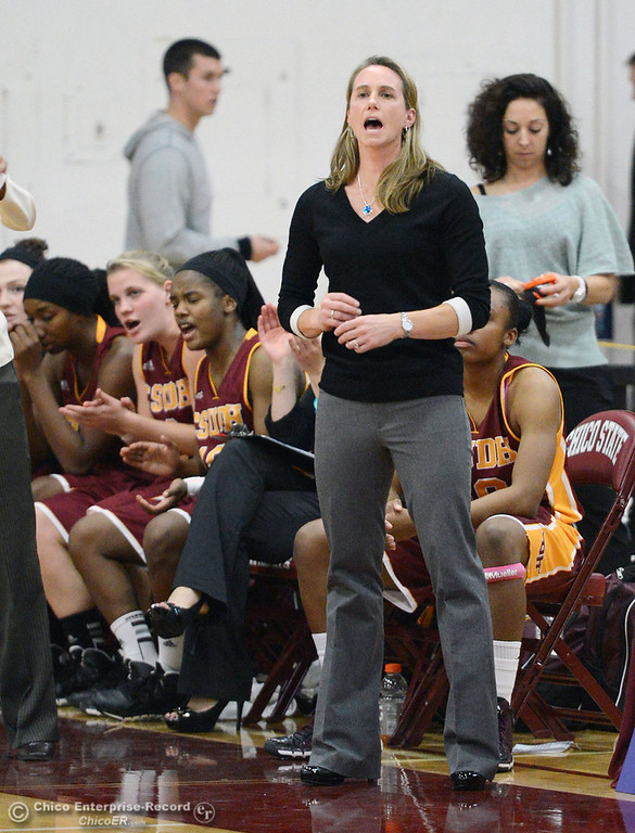 Description of . Chico State against Cal State Dominguez Hills coach Molly Goodenbour in the second half of their women\'s basketball game at CSUC Acker Gym Friday, January 10, 2014 in Chico, Calif.  (Jason Halley/Chico Enterprise-Record)