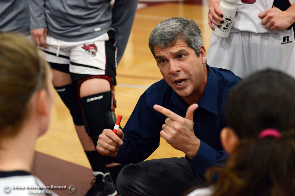 Description of . Chico State coach Brian Fogel talks to the team during a timeout against Cal State L.A. in the first half of their women\'s basketball game at CSUC Acker Gym Saturday, January 11, 2014 in Chico, Calif.  (Jason Halley/Chico Enterprise-Record)