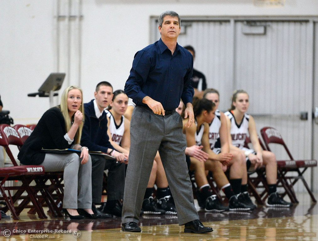 Description of . Chico State\'s head coach Brian Fogel looks on against Cal State L.A. in the first half of their women\'s basketball game at CSUC Acker Gym Saturday, January 11, 2014 in Chico, Calif.  (Jason Halley/Chico Enterprise-Record)