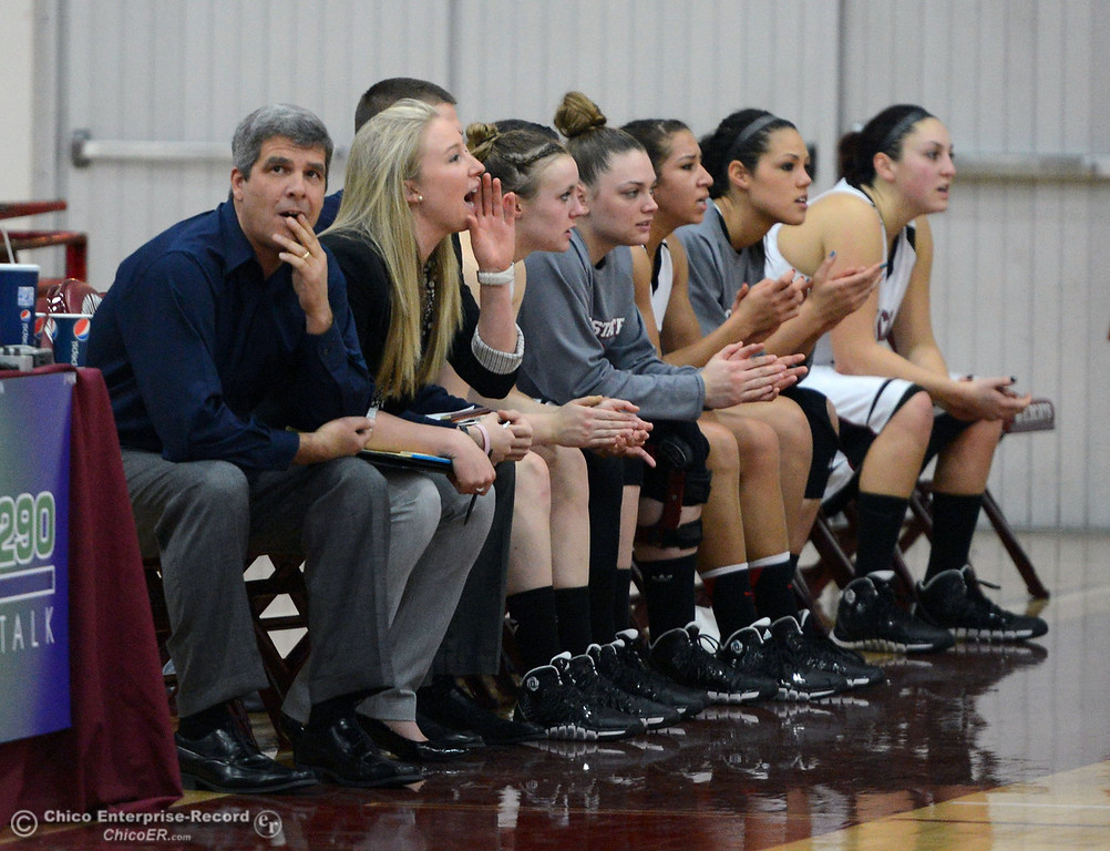 Description of . Chico State head coach Brian Fogel (left) looks up to the scoreboard against Cal State L.A. in the first half of their women\'s basketball game at CSUC Acker Gym Saturday, January 11, 2014 in Chico, Calif.  (Jason Halley/Chico Enterprise-Record)