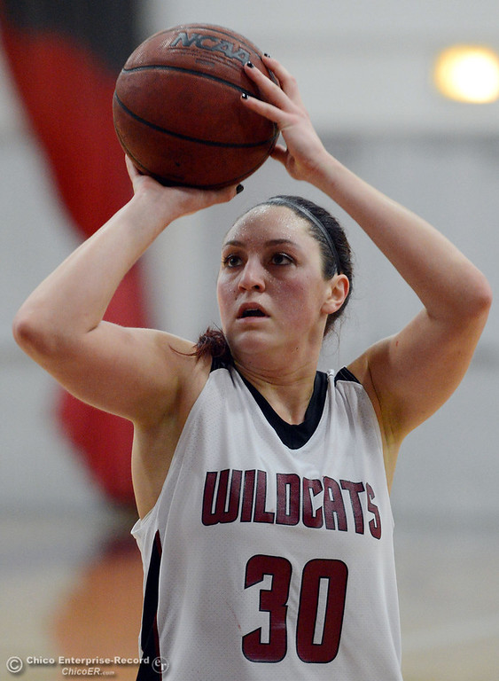 Description of . Chico State\'s #30 McKenzie Dalthorp takes a free throw against Cal State L.A. in the first half of their women\'s basketball game at CSUC Acker Gym Saturday, January 11, 2014 in Chico, Calif.  (Jason Halley/Chico Enterprise-Record)