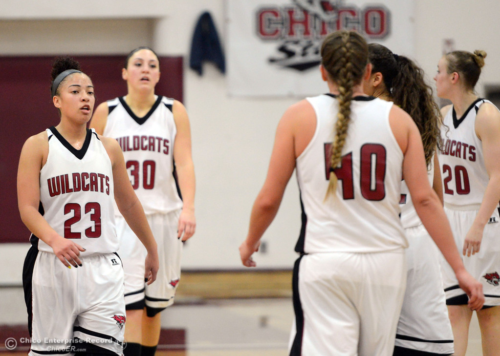 Description of . Chico State\'s #23 Jazmine Miller (left) looks on against Cal State L.A. in the first half of their women\'s basketball game at CSUC Acker Gym Saturday, January 11, 2014 in Chico, Calif.  (Jason Halley/Chico Enterprise-Record)