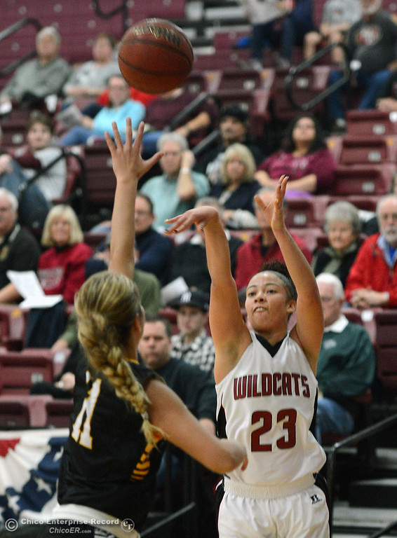 Description of . Chico State\'s #23 Jazmine Miller (right) takes a shot against Cal State L.A.\'s #11 Bree Parsons (left) in the first half of their women\'s basketball game at CSUC Acker Gym Saturday, January 11, 2014 in Chico, Calif.  (Jason Halley/Chico Enterprise-Record)