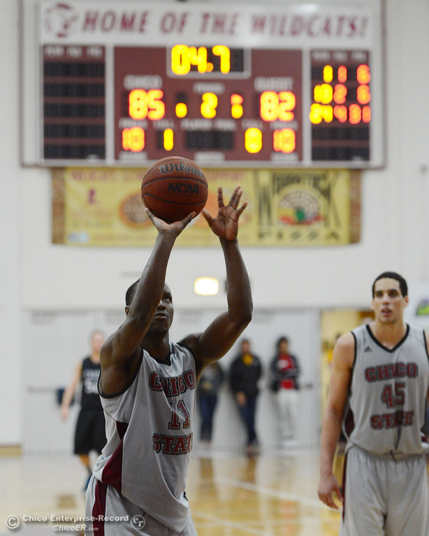 . Chico State\'s #11 Rashad Parker shoots a free throw against Cal State San Bernardino in overtime of their men\'s basketball game at CSUC Acker Gym Saturday, February 8, 2014 in Chico, Calif.  (Jason Halley/Chico Enterprise-Record)