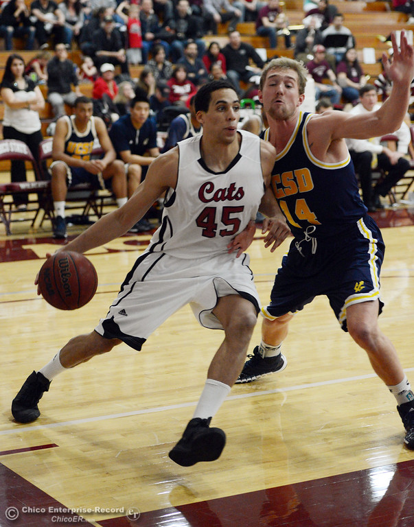 Description of . Chico State's #45 Jordan Semple (left) dribbles against UC San Diego's #14 Drew Dyer (right) in the first half of their men's basketball game at CSUC Acker Gym Friday, February 7, 2014 in Chico, Calif.  (Jason Halley/Chico Enterprise-Record)