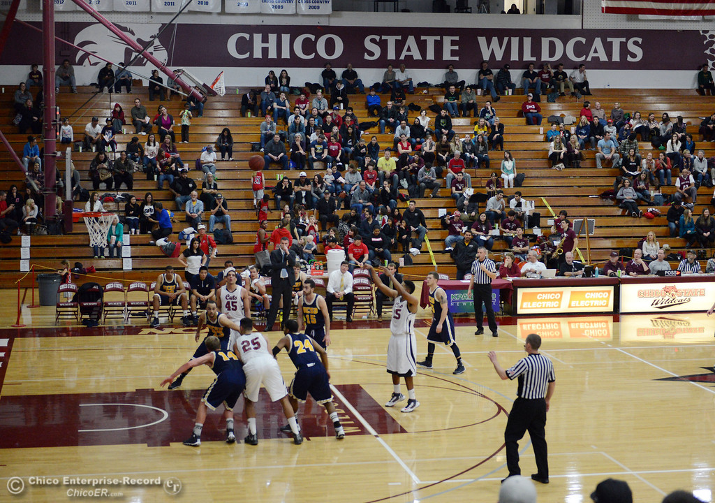 Description of . Chico State against UC San Diego in the first half of their men's basketball game at CSUC Acker Gym Friday, February 7, 2014 in Chico, Calif.  (Jason Halley/Chico Enterprise-Record)
