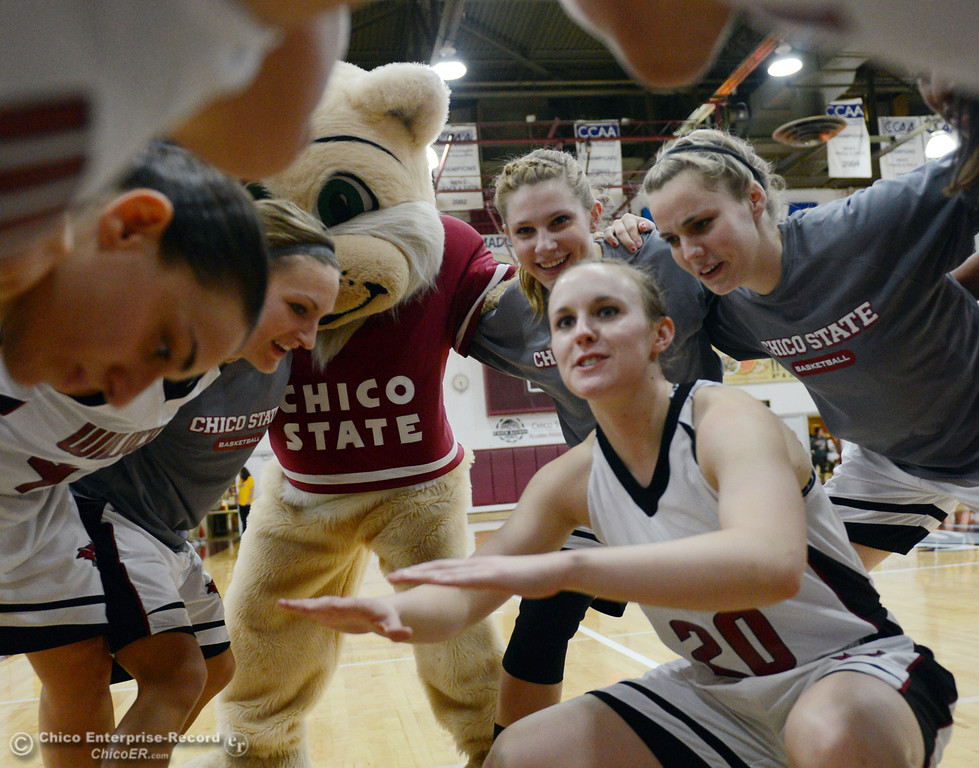Description of . Chico State's #20 Annie Ward (center) pumps up the team against UC San Diego in the first half of their women's basketball game at CSUC Acker Gym Friday, February 7, 2014 in Chico, Calif.  (Jason Halley/Chico Enterprise-Record)
