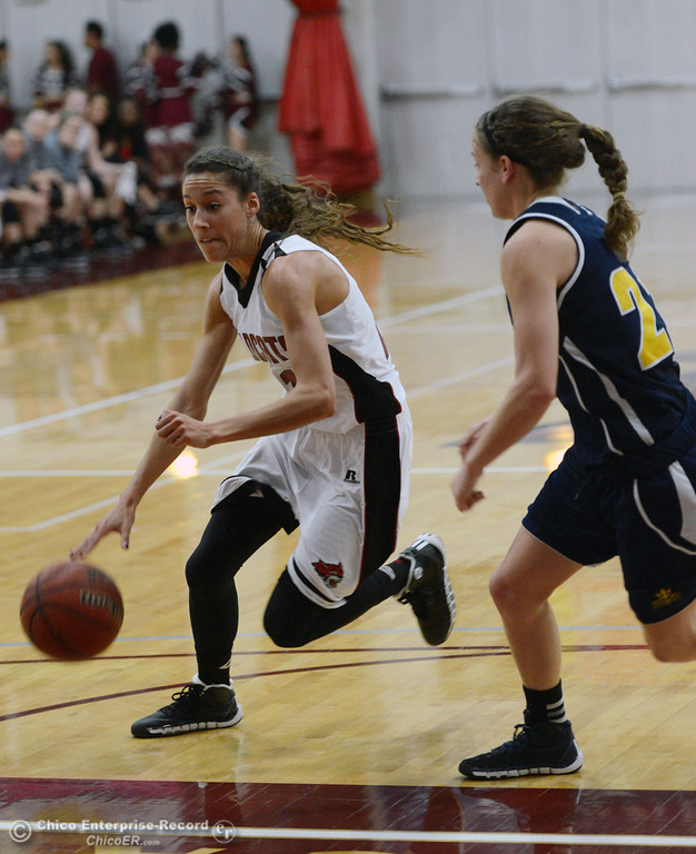 Description of . Chico State's #21 Courtney Hamilton (left) dribbles against UC San Diego's #21 Megan Perry (right) in the first half of their women's basketball game at CSUC Acker Gym Friday, February 7, 2014 in Chico, Calif.  (Jason Halley/Chico Enterprise-Record)