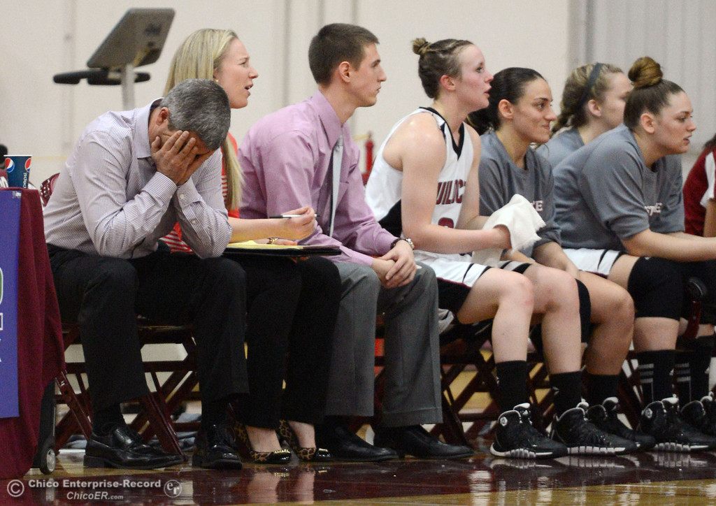 Description of . Chico State head coach Brian Fogel (left) reacts to a poor start against UC San Diego in the first half of their women's basketball game at CSUC Acker Gym Friday, February 7, 2014 in Chico, Calif.  (Jason Halley/Chico Enterprise-Record)